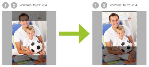 Uitsnijd-gedeelte aanpassen van deelfoto